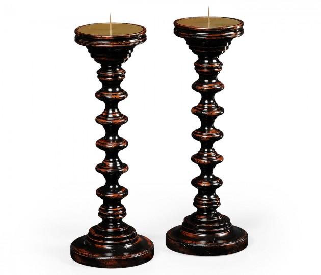 Pair of Turned Ebonised Candlesticks