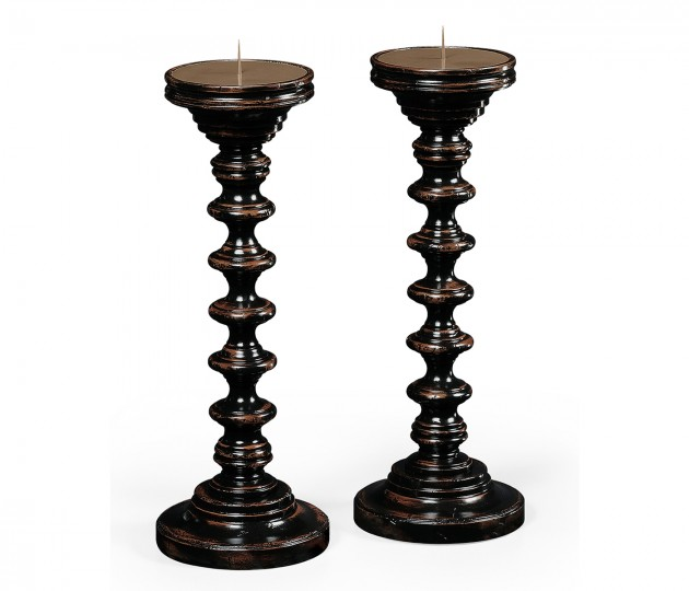 Pair of Turned Ebonised Candlesticks