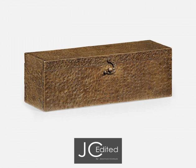 Rectangular Hand Hammered Brass Box