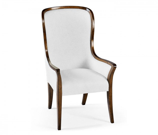 High Curved Back Walnut Dining Arm Chair, Upholstered in COM by Distributor