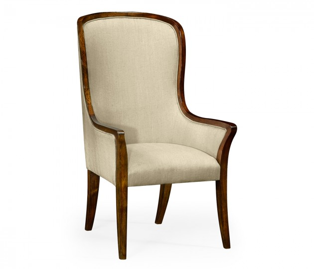 High Curved Back Upholstered Dining Arm Chair