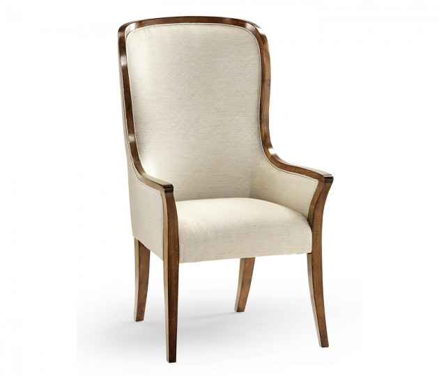 High Curved Back Walnut Dining Arm Chair, Upholstered in Skipper