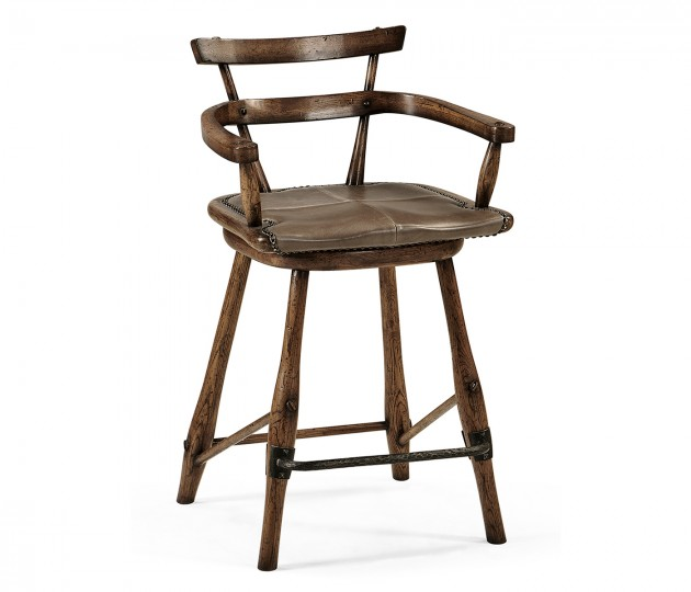 Dark Brown Oak Arm Counter Stool with Studded Haven Leather Seat