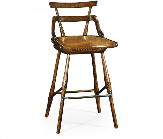 Oak barstool with studded leather seat (Side)