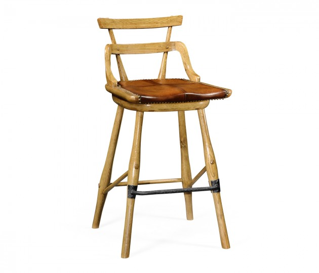 Natural oak barstool with studded leather seat (Side)