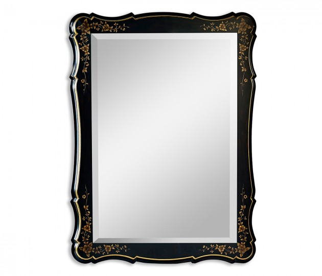 Black & gilded floral rectangular mirror