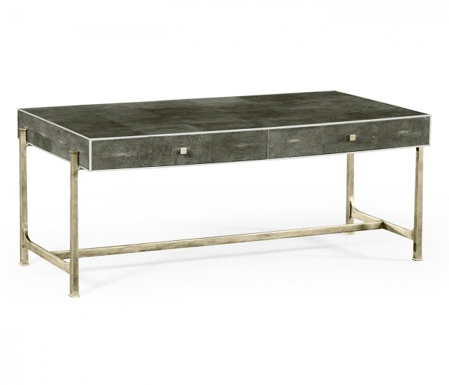 Anthracite Faux Shagreen Coffee Table with Silver Base