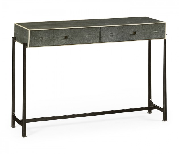 Anthracite Faux Shagreen & Bronze Console