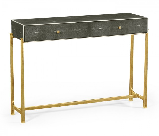 Anthracite Faux Shagreen & Gilded Console
