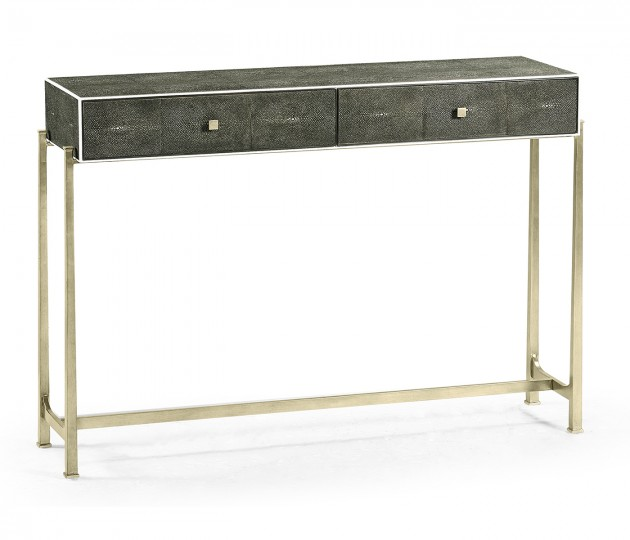 Faux Anthracite Shagreen & Silver Console