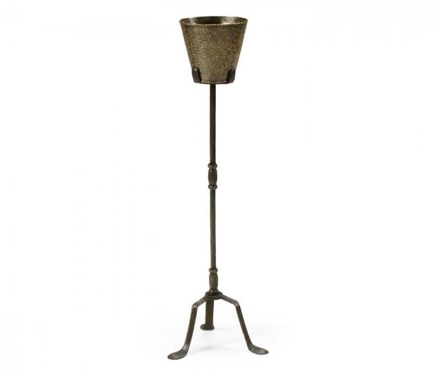 Textured brass & iron planter