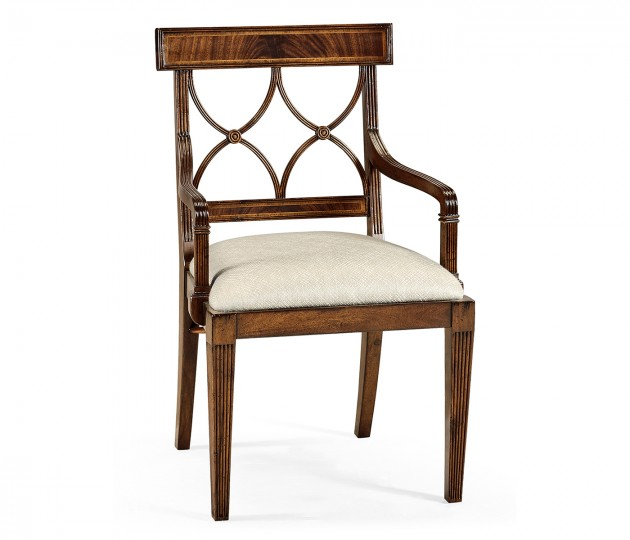 Regency Mahogany Curved Back Arm Chair, Upholstered in Skipper