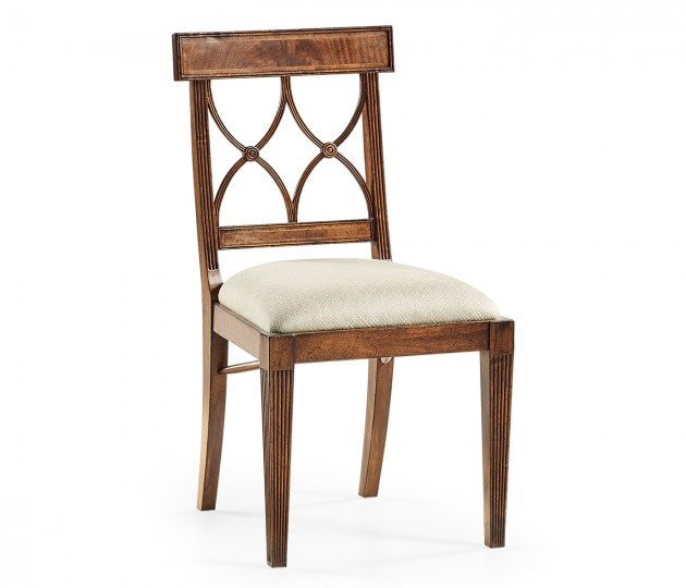 Regency Crotch Walnut Curved Back Side Chair Upholstered in Skipper