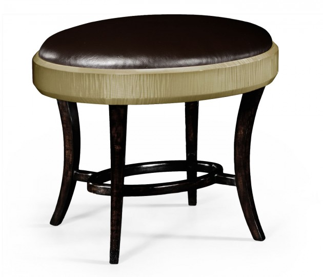 Art Deco Dressing Stool, Upholstered in Dark Chocolate Leather