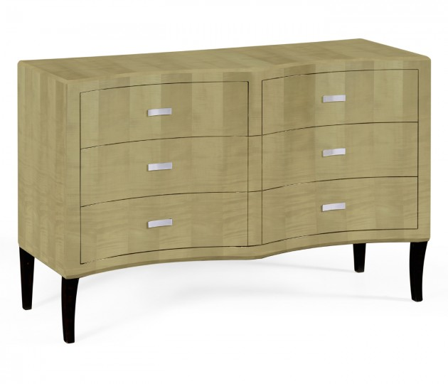 Art Deco Double Concave Chest of Drawers with Brass