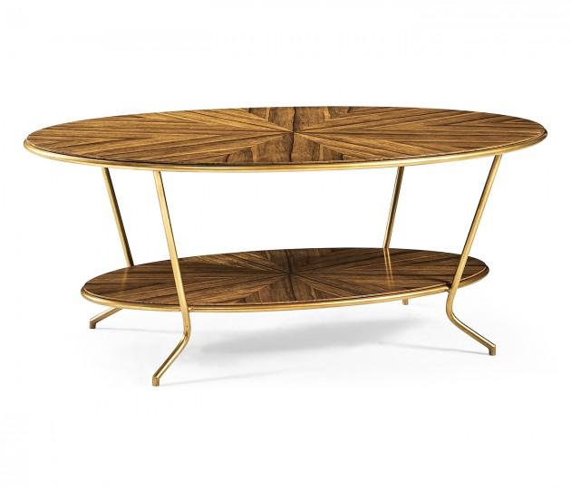 Argentinian walnut veneered oval coffee table