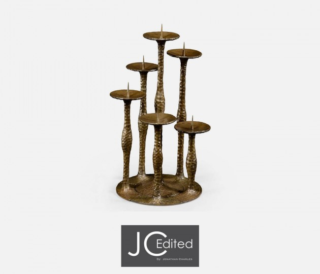 Textured Brass Six Branch Candlestick