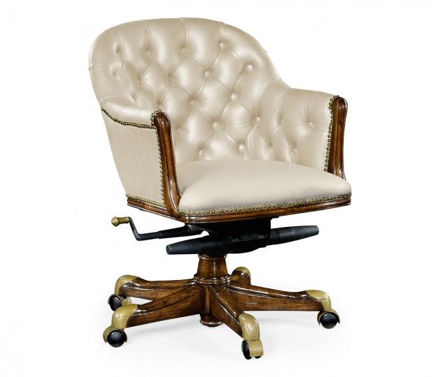 Chesterfield Style Walnut Office Chair, Upholstered in Embossed Cream Leather