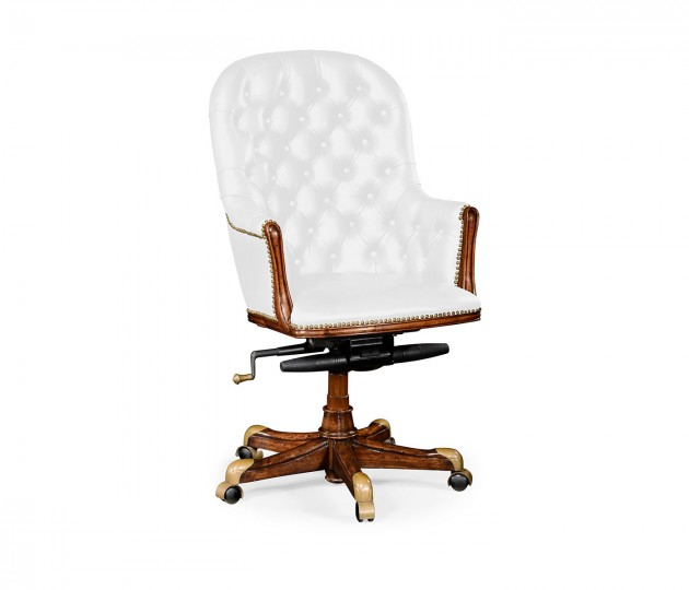 Chesterfield Style High Back Walnut Office Chair, Upholstered in COM