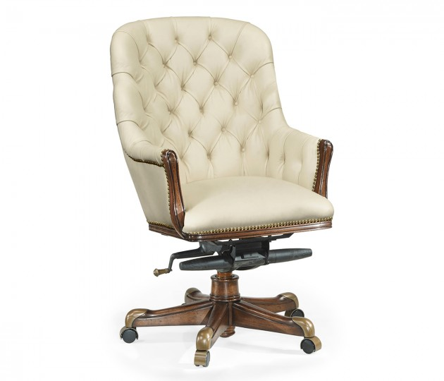 Chesterfield Style High Back Walnut Office Chair, Upholstered in Embossed Cream Leather