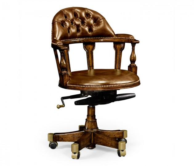 Captain's Style Walnut Office Chair, Upholstered in Antique Chestnut Leather