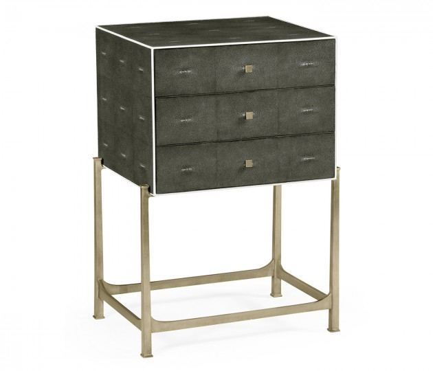 Anthracite Faux Shagreen & Silver High Chest of Drawers
