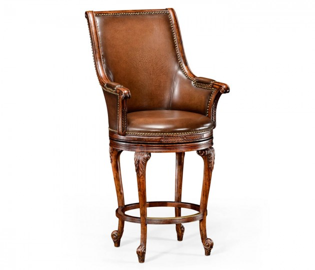 Revolving Tub Barstool Brown Leather (Arm)