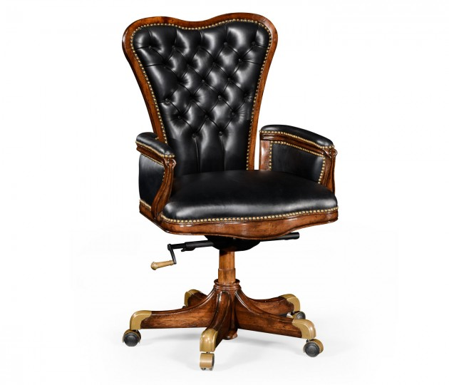 Double Lobed Walnut Office Chair, Upholstered in Black Leather