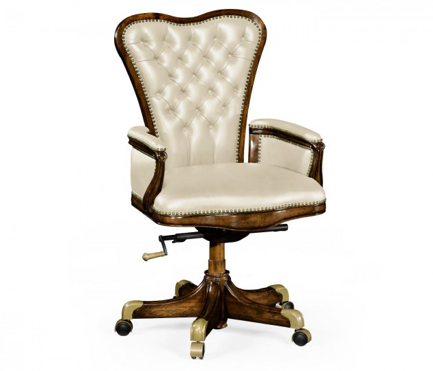 Double Lobed Walnut Office Chair, Upholstered in Embossed Cream Leather
