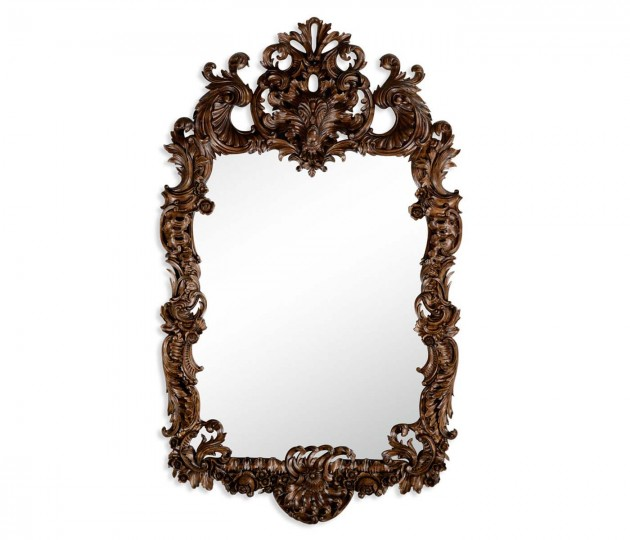 Finely carved walnut rococo style mirror