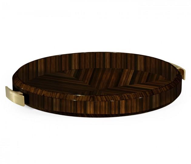 Round Art Deco Macassar Ebony High Lustre Tray