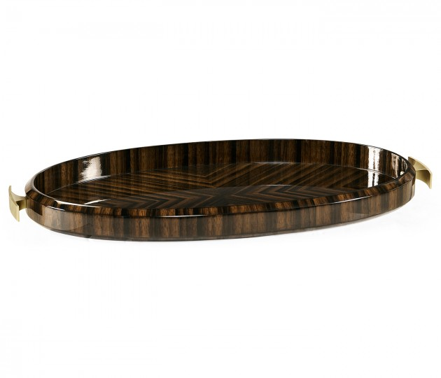 Oval Art Deco Macassar Ebony High Lustre Tray