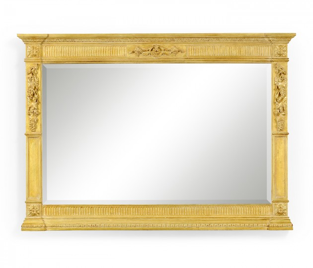 Empire style gilded overmantle mirror
