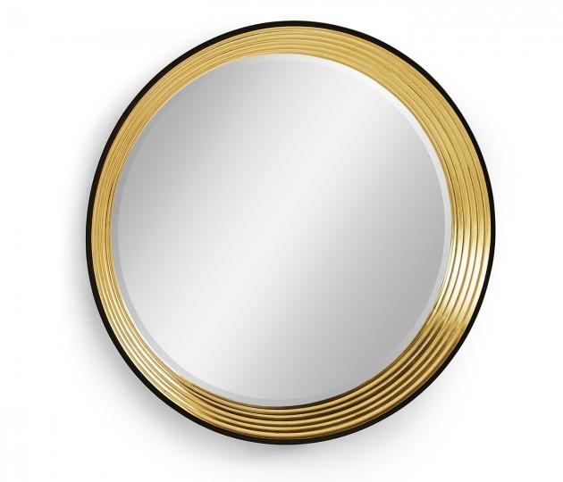 Contemporary Circular Recessed Gilded Mirror
