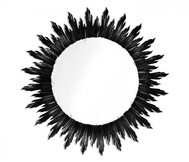 Large black sunburst mirror