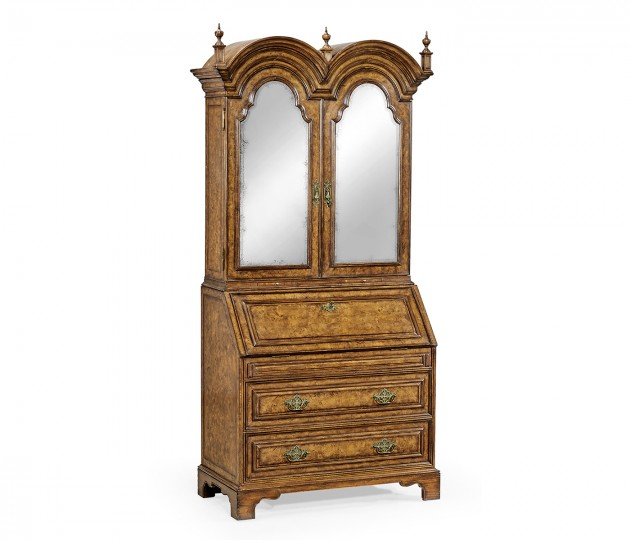 Queen Anne pollard veneer bureau cabinet with mirrored doors