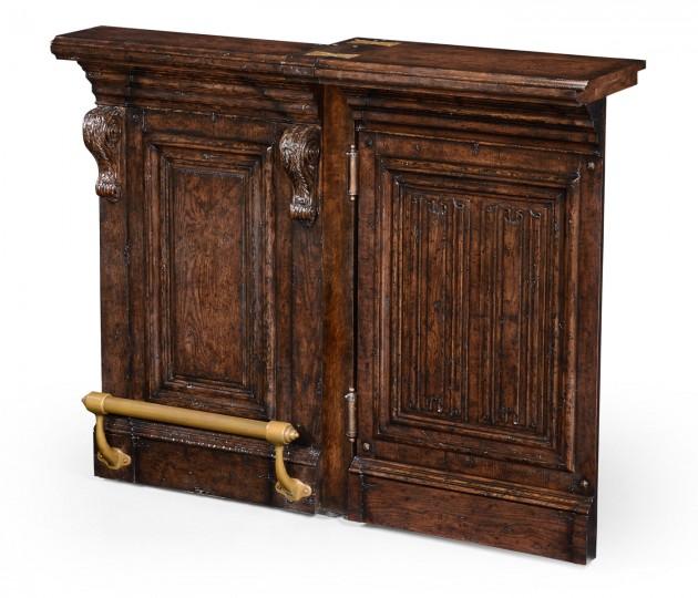 Hinged Door Panel for Linenfold Tudor Oak Home Bar