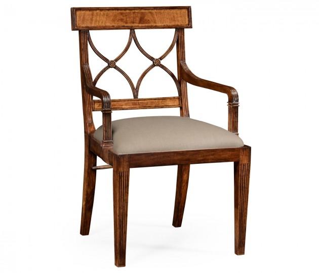 Regency crotch walnut curved back armchair