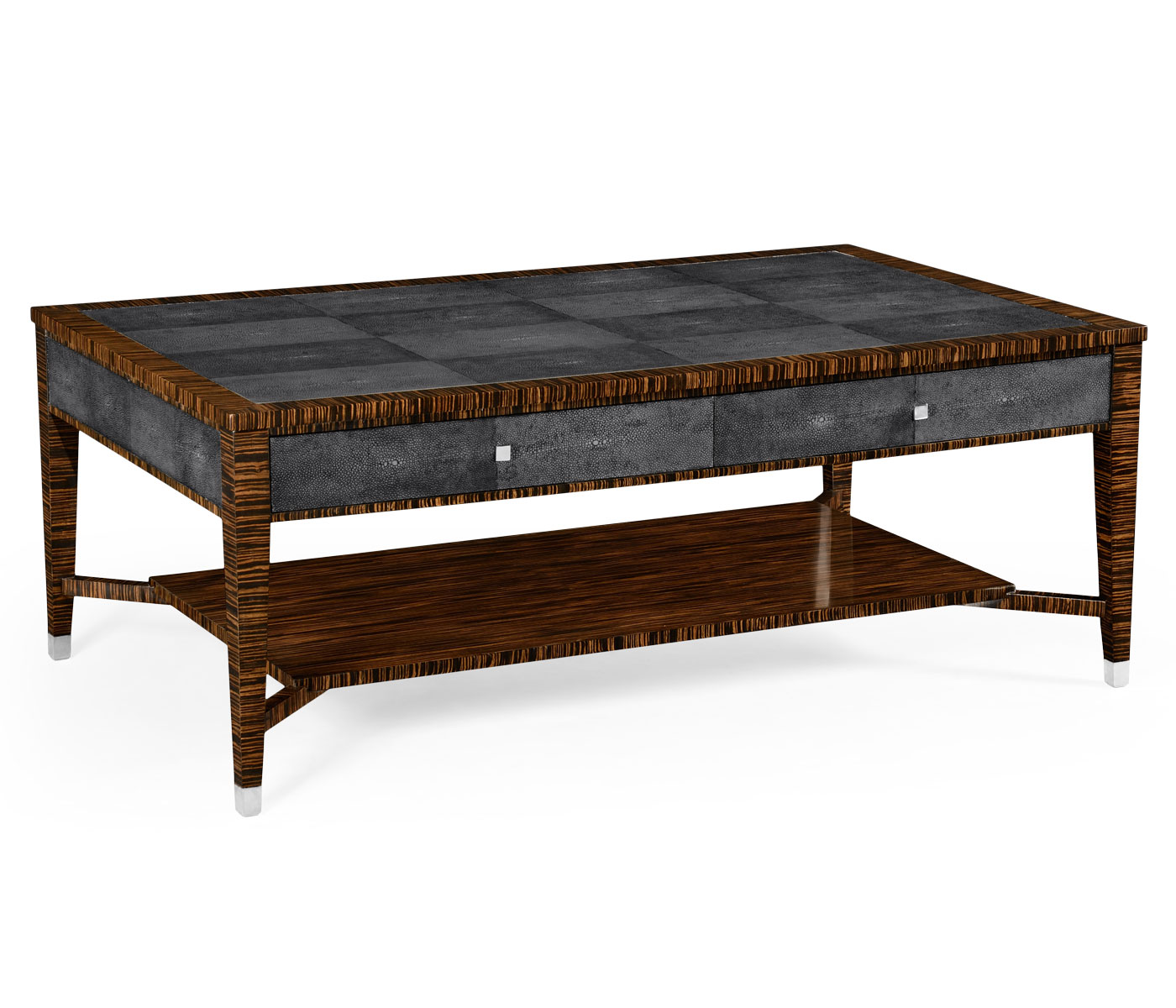 Excellent Faux Macassar Ebony & Anthracite Shagreen Coffee Table HJ22