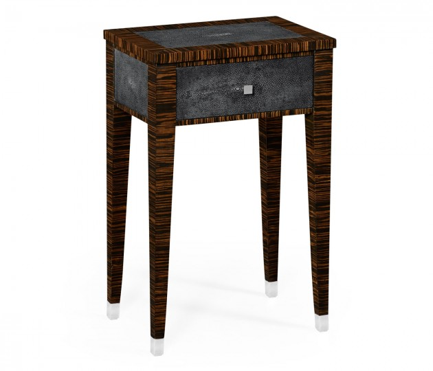 Anthracite Faux Shagreen and Macassar Ebony Lamp Table