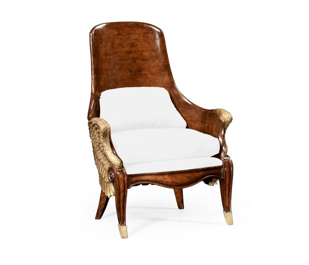 Empire Style Winged Chair, Upholstered in COM