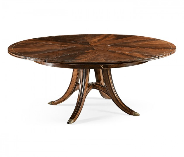"59"" Mahogany circular dining table with self–storing leaves"