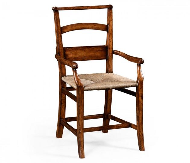 Rustic walnut church armchair