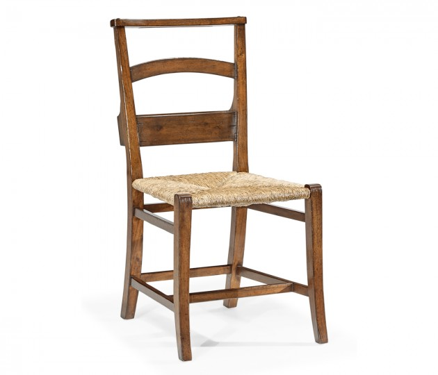 Rustic walnut church side chair