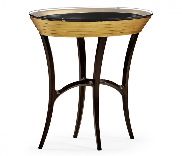 Stepped Gilded Oval Side Table