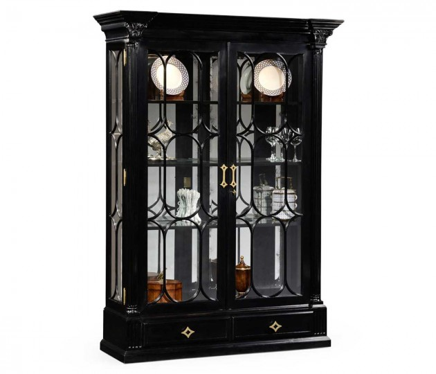 Corinthian Column Black Display Cabinet