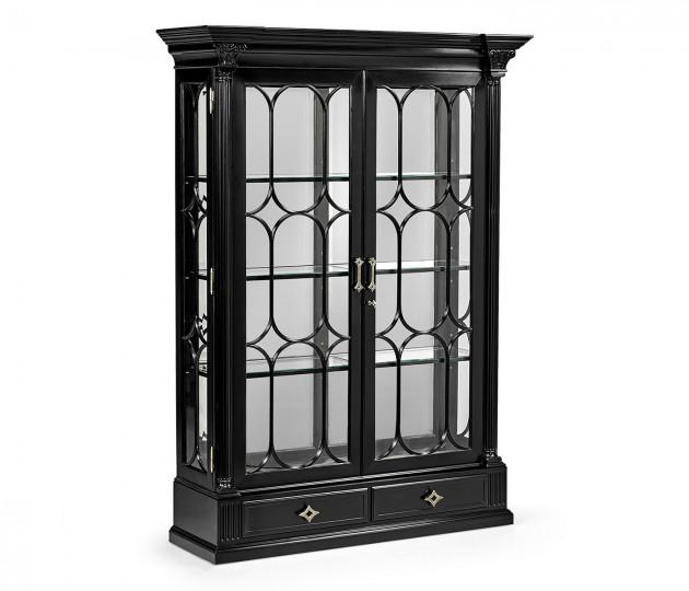 Madison Corinthian Column Piano Black & White Brass Display Cabinet