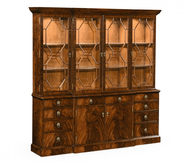 Triple Mahogany Display Cabinet with Octagonal Glazing Bars