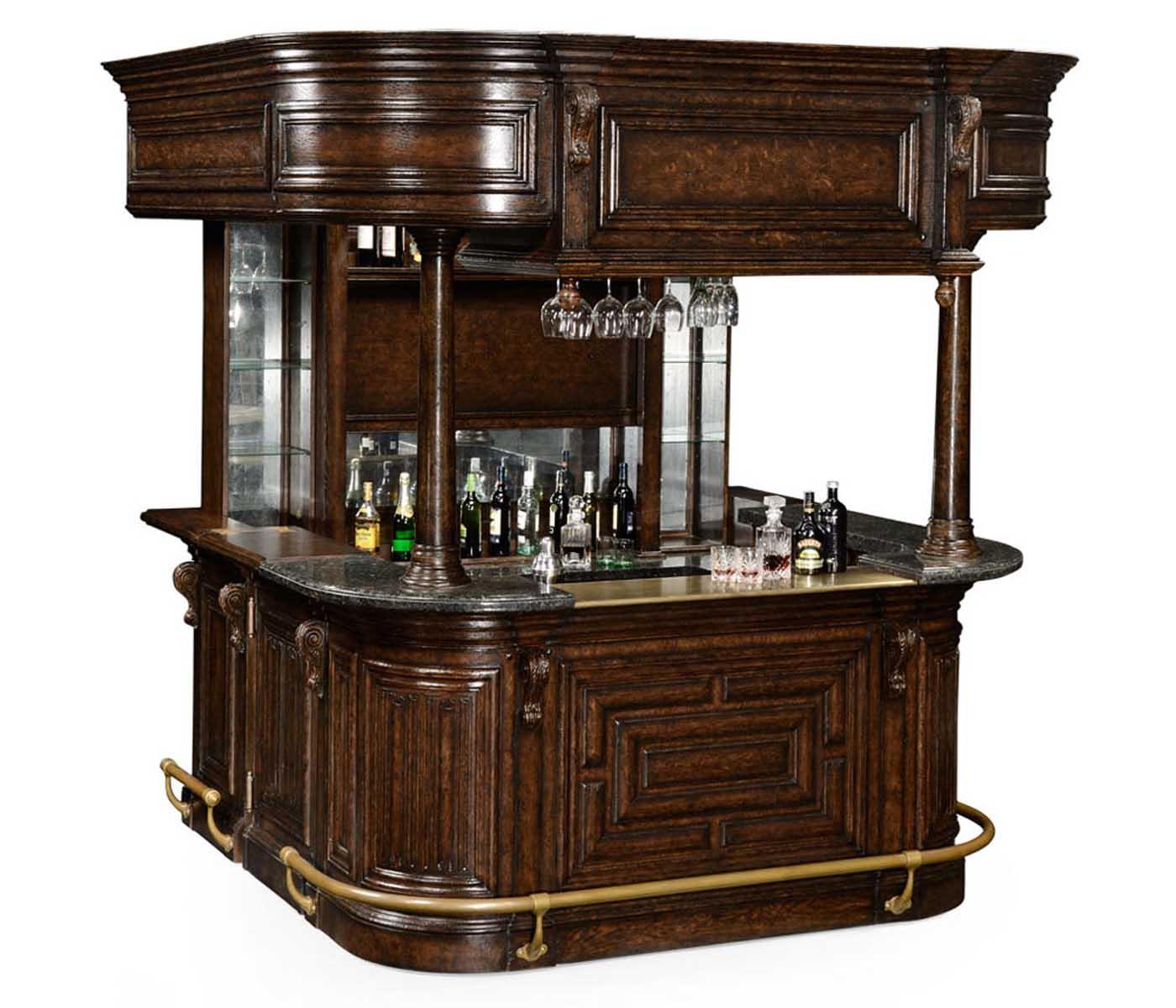 Complete Linenfold Tudor Oak Home Bar