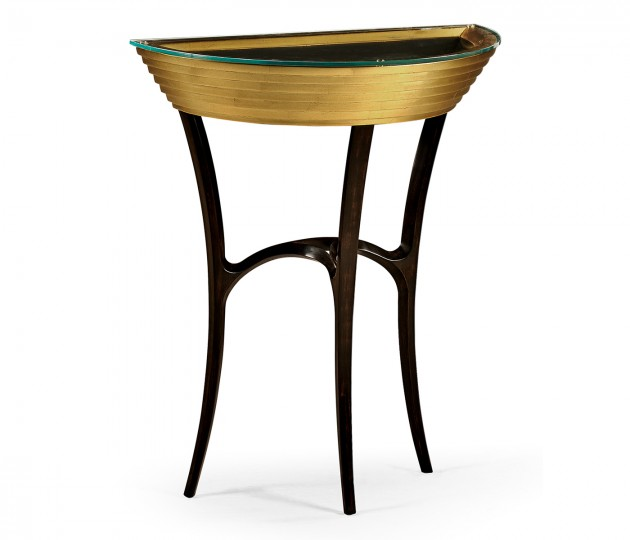 Stepped Gilded Demilune Console